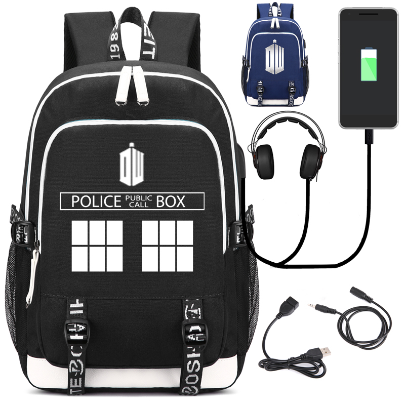 Doctor Who Unisex Leopard Backpack with USB Charging Port and Lock &Headphone interface for College Student Work Men & Women fortnite backpack with usb charging port and lock