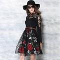 Encaje otoño dress 2017 de alta gama de estilo europeo costura delgado de manga larga vestidos de encaje bordado de flores