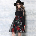 Lace autumn dress 2017 high-end European style lace embroidery floral stitching Slim long sleeve dresses