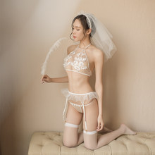 f19855f360537 Sexy Lingerie Hot Underwear Set Women Mesh Bras Floral Erotic White Cosplay  Bride Wear Suit Fantasy Halter