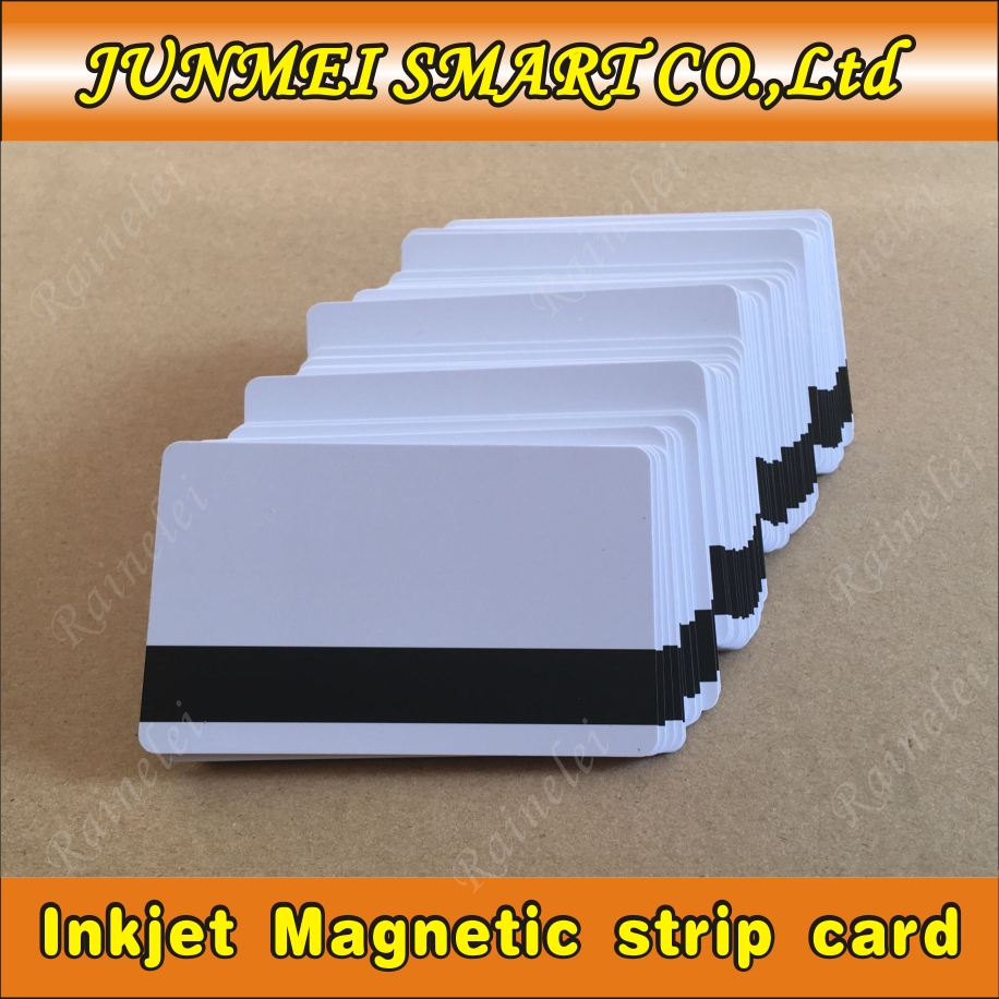 100pcs Free shipping Blank white Hico inkjet pvc magnetic stripe card for epson l800 printer