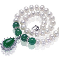SNH AAA New green agate genuine Agate pearl necklace 9 10 mm big sized pearl women of top quality jewelry best gift for mother
