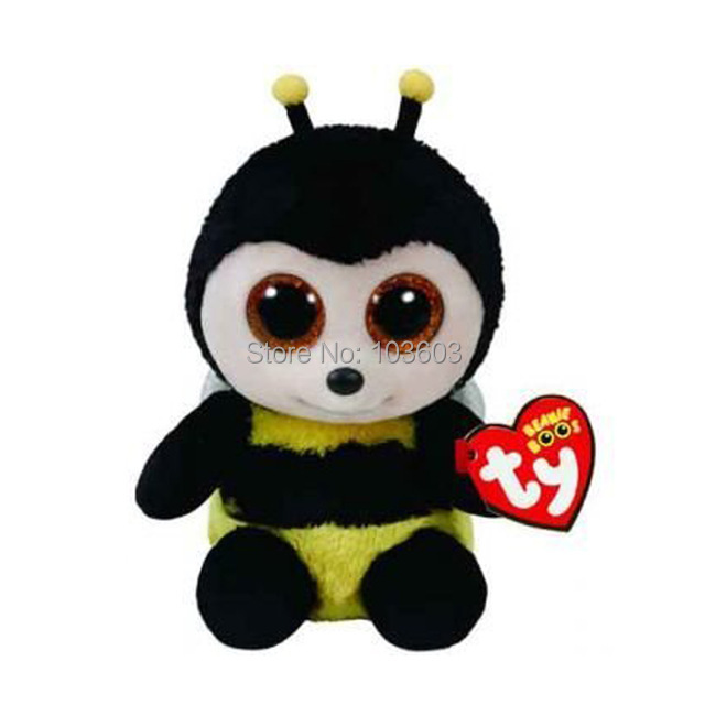 6 15cm Ty Beanie Boos Big Eyes Cute Yellow Bee Buzby with Wings Baby Plush Stuffed Doll Toy Soft Collectible Soft Big Eyes Toys gonlei ty beanie boos yellow penguin 6inch big eyes beanie baby plush stuffed doll toy collectible soft plush toys kids gift