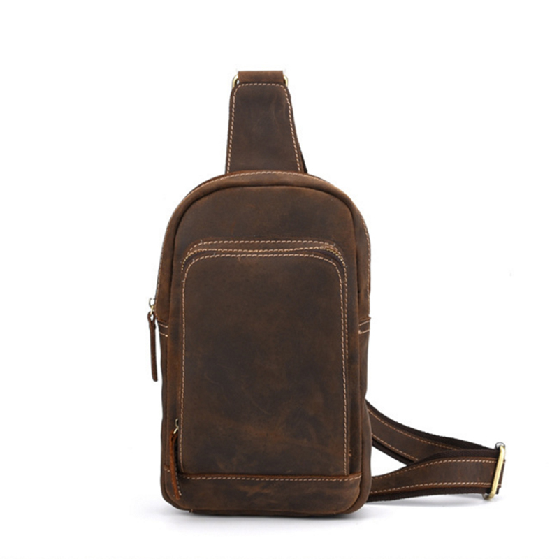 2018 Fashion Men Genuine Leather Laptop School Book Cross Body Messenger Shoulder Back pack Sling Chest High Capacity Bag men canvas high capacity travel motorcycle cross body messenger shoulder back pack sling chest casual bag