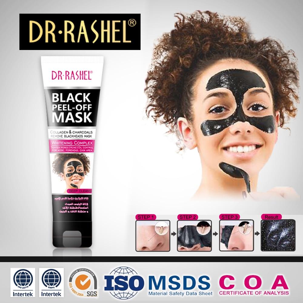 DR.RASHEL Μαύρη μάσκα μάσκα προσώπου μαύρη αφαίρεσης ξυλοκάρβουνο φλούδα από μάσκα κεφάλια σημεία noirs αφαίρεσε