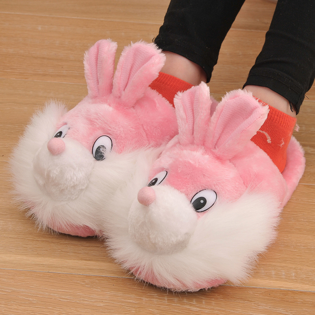 8cc0f788415 2018 New Winter Cotton Fabric Women Slippers Animal Prints Cartoon Lovely  Squirrel Smile Home Slippers Pink