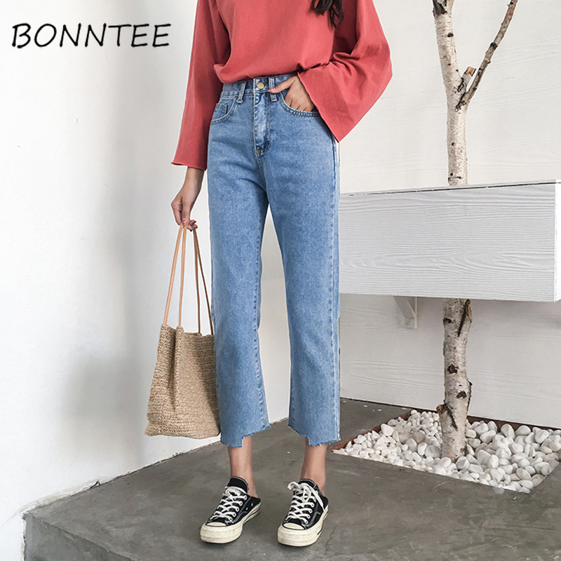 Jeans   Women 2019 New Korean Style Loose High Waist Button Solid Trendy Woman   Jean   Denim Pockets Trendy Students Female Trousers