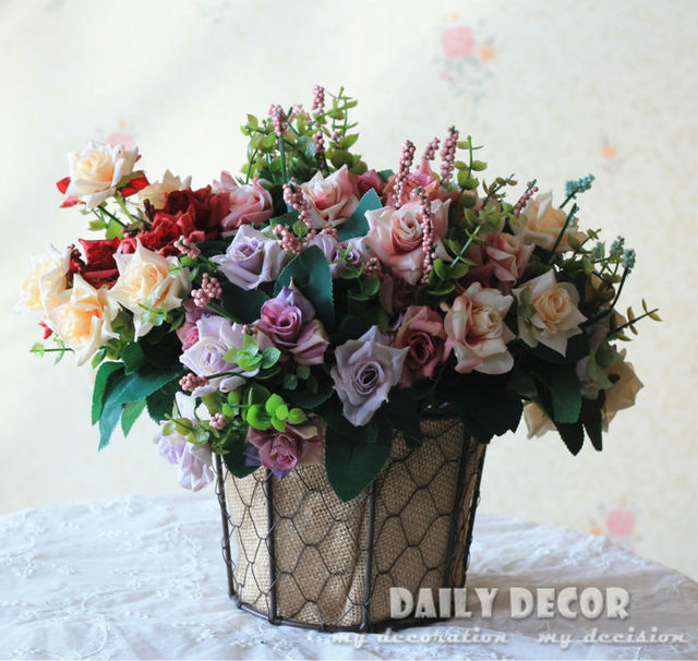 10 bouquet vintage oil painting fake 10 heads small rose artificial