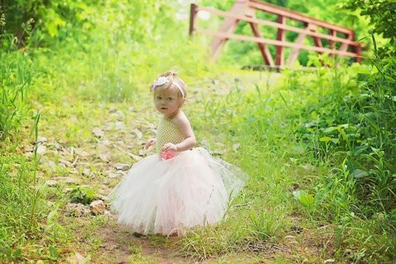 Ivory and Pink Flower Girl Wedding Tutu Dress2