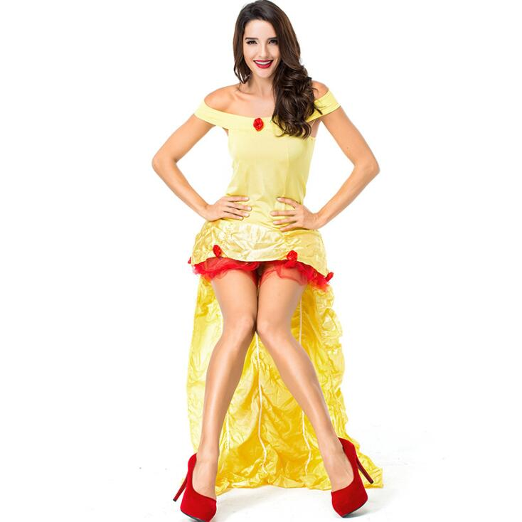 Deluxe Women Fairytale Alice In Wonderland Yellow Long Tail Princess Costume Halloween Performance Cosplay Clothing