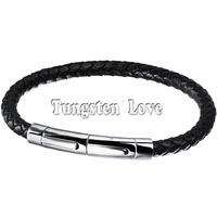 Simple Fashion Trend Extended Magnetic Stainless Steel Buckle Mens Leather Bracelets Black Color Boy GiftS Pulseiras