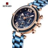 Women Fashion Gold Blue Quartz Watch Lady All Steel Date Chronograph Watch High Quality Casual Waterproof Wristwatch Clock