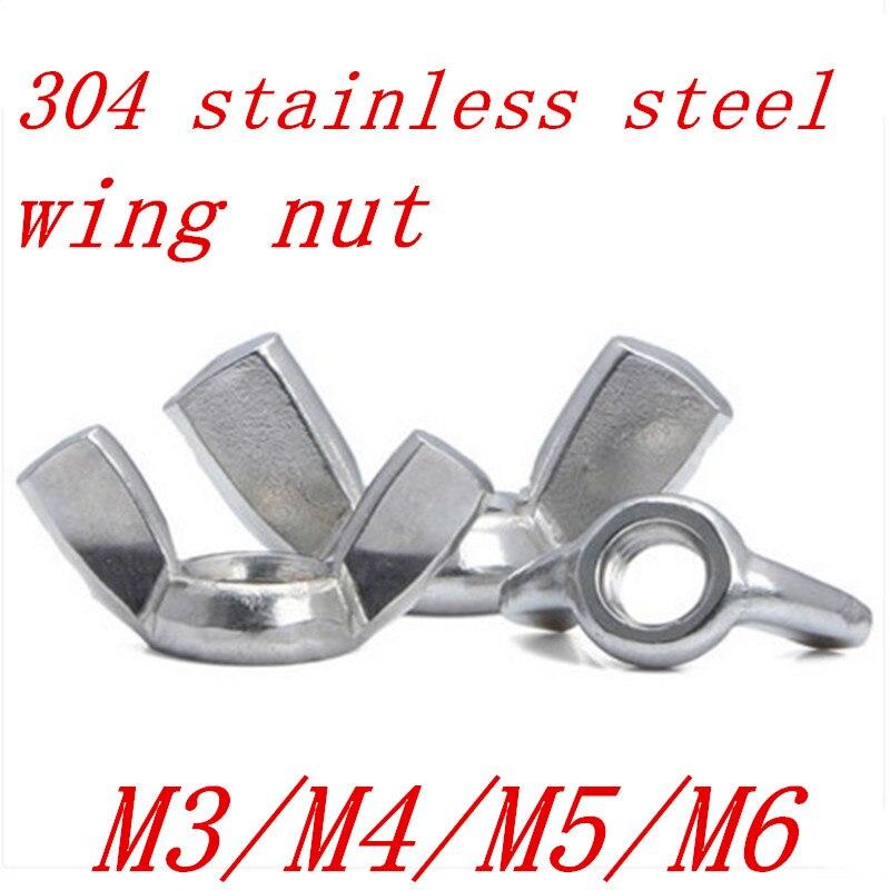 10pcs M3 M4 M5 M6 M8 DIN315 304 Stainless Steel Hand Tighten Nut Butterfly Nut Ingot Wing Nuts цена 2017