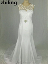 Newest Style Mermaid Wedding Dresses Crossed Lace Bridal Wedding Gown With Crystals Custom Size Color