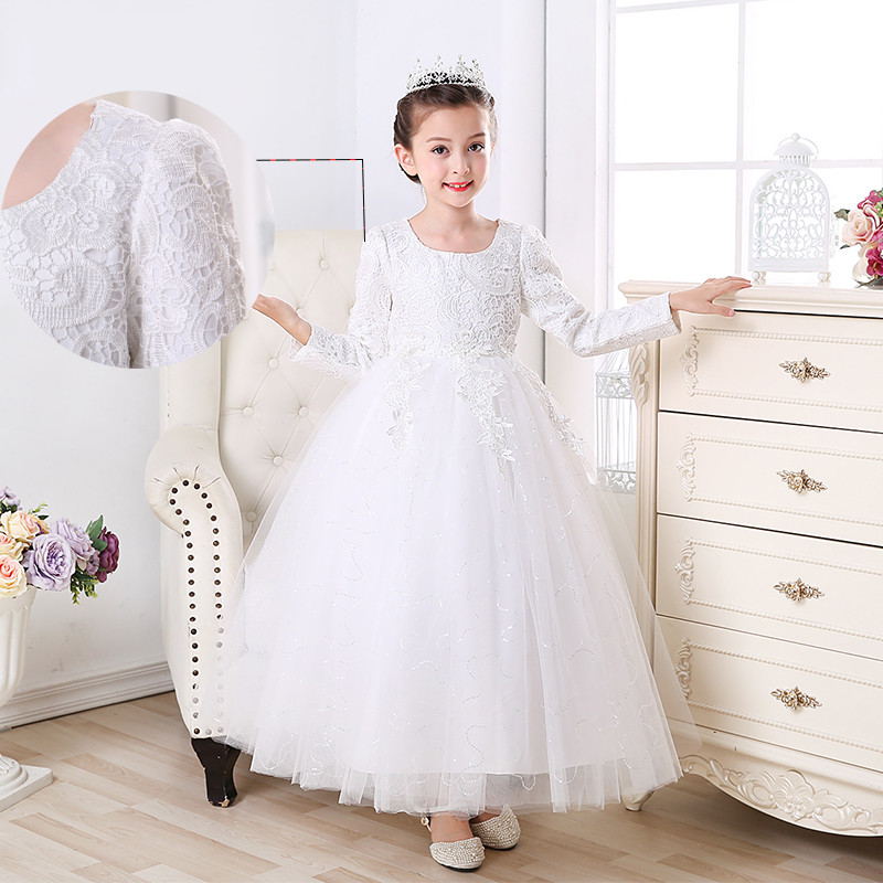 2018 Girl Princess Wedding Dress Long Sleeve Beading Tulle Kids Wedding Dress Girls Birthday Bridesmaid Clothes
