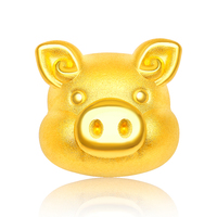 Pure 24K Yellow Gold Bracelet Women 3D 999 Gold Pig Bracelet Leather Bracelet