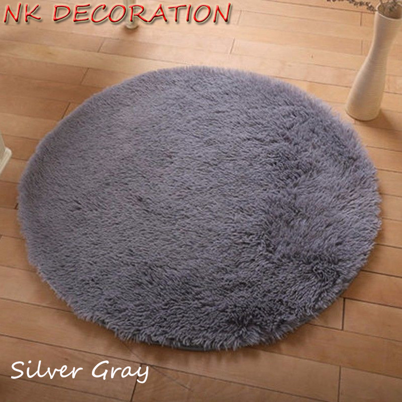 NK DECORATION Approx 100cm Silver Gray Rug Plush Shaggy Soft Round Carpet Floor Rug Mat For Bedroom Living Room Home Supplies