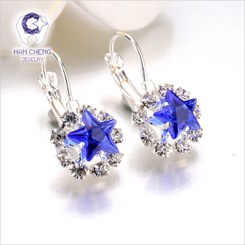 New Fashion Luxury Romantic Silver Plated Rhinestone Lace Star Created Crystal Stud Earrings For Women Jewelry brincos Bijoux