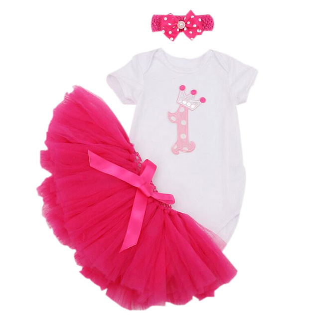 3 Unids por Juego Infantiles Vestido de primera Fiesta de Cumpleaños de La Corona Del Bebé Tutu Outfit Mameluco Burbuja Falda Diadema