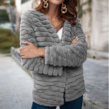 Nadafair Cardigan abrigo de piel de mujer de manga larga Shaggy Otoño  Invierno chaqueta de piel de imitación 2018 abrigo de pelo. 295a477cef35