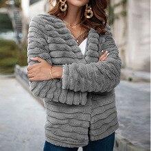 Nadafair Vest Bontjas Vrouwen Lange Mouwen Shaggy Herfst Winter Faux Fur Jas 2018 Grijs Konijn Haar Bovenkleding Jas Vrouwelijke
