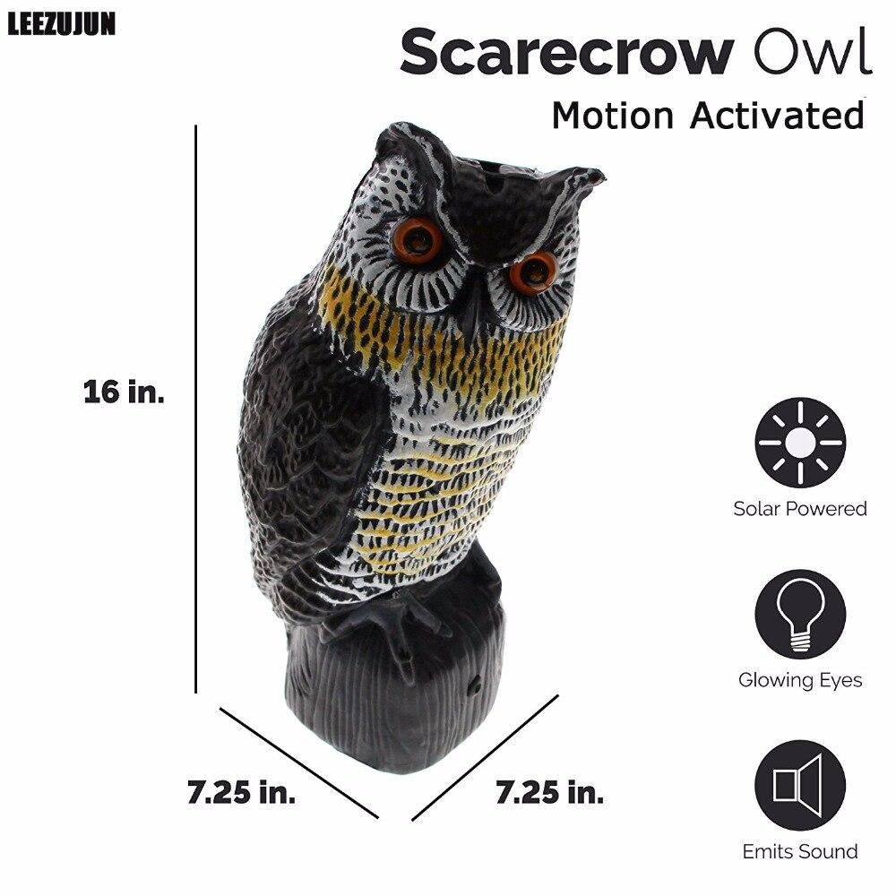 На солнечных батареях пугало Сова-большая Реалистичная Сова-движение активированные мигающие глаза и страшные звуки, эффективная птица, гр...