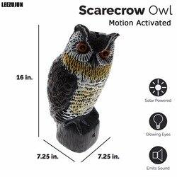 Солнечные пугало Сова-большой реалистичным сова-Движение Активированный мигающий глаза и страшный звуки, эффективное птица, грызунов, вред...