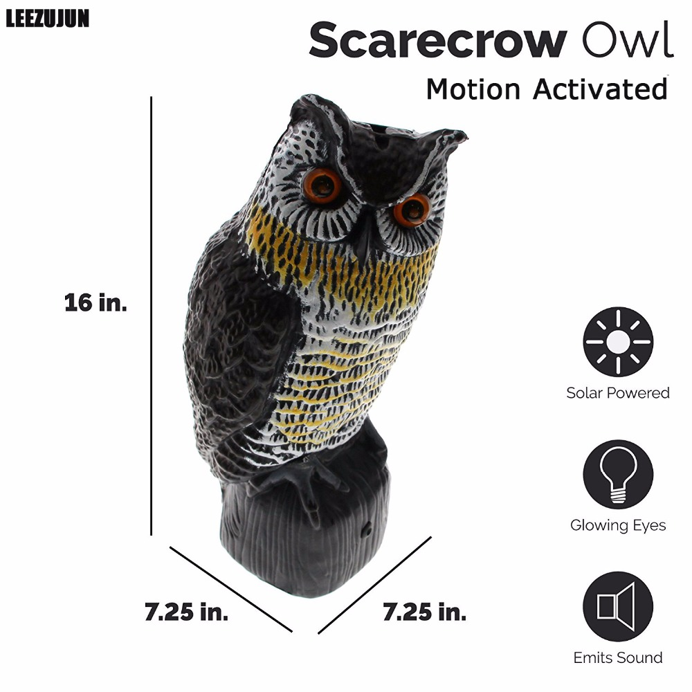 Solar Powered Scarecrow Owl - Large Realistic Owl - Motion Activated Flashing Eyes & Scary Sounds,Effective Bird, Rodent,Pest