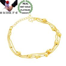 OMHXFC Wholesale European Fashion Woman Female Party Birthday Wedding Gift Multi Lines Lucky Beads 18KT Gold Bracelets BE181(China)