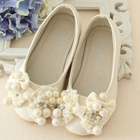 2015 New Style Luxury Pearls Ballet Shoes For Children Girls Kids Fashion Flats Shoes Pearls Bow