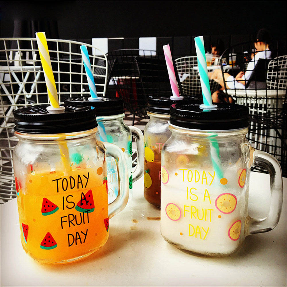 Elegance Sweet Korean Style Transparent Glass Water Bottle Milk Coffee Beer with Handle Straw for Gift Decor Home Drinkware