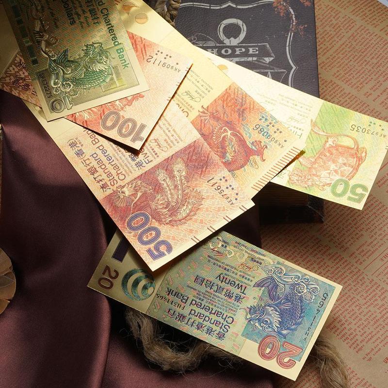 6pcs Set Hong Kong 10 20 50 100 500 1000$ Standard Chartered Bank Souvenir Gold Banknotes Fake Money Banknotes Paper Money