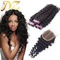 7А Виргинский Бразильский Глубокая Волна С Закрытием Дешевые Человеческих Волос Бразильского Виргинские Волос С Закрытием Бразильский Вьющиеся Волосы С Закрытием