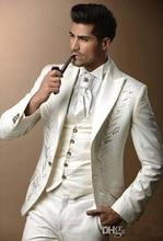 Customize a button, ivory wedding dress, best man, best man, wedding ball, pointed dinner dress (jacket + pants + Vest + tie)