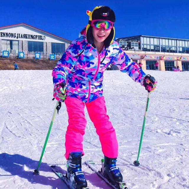 8d29d1c1d8 2018 Thick Camouflage Women Ski Suit Women s Waterproof Winter Jacket + Pants  Suits Young Lady Skis Snow Snowboard Sets