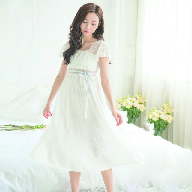 36937d031e Palace women lace Nightgown ladies summer Princess Nightgown long sleeved  purified cotton longuette Home Furnishing suit
