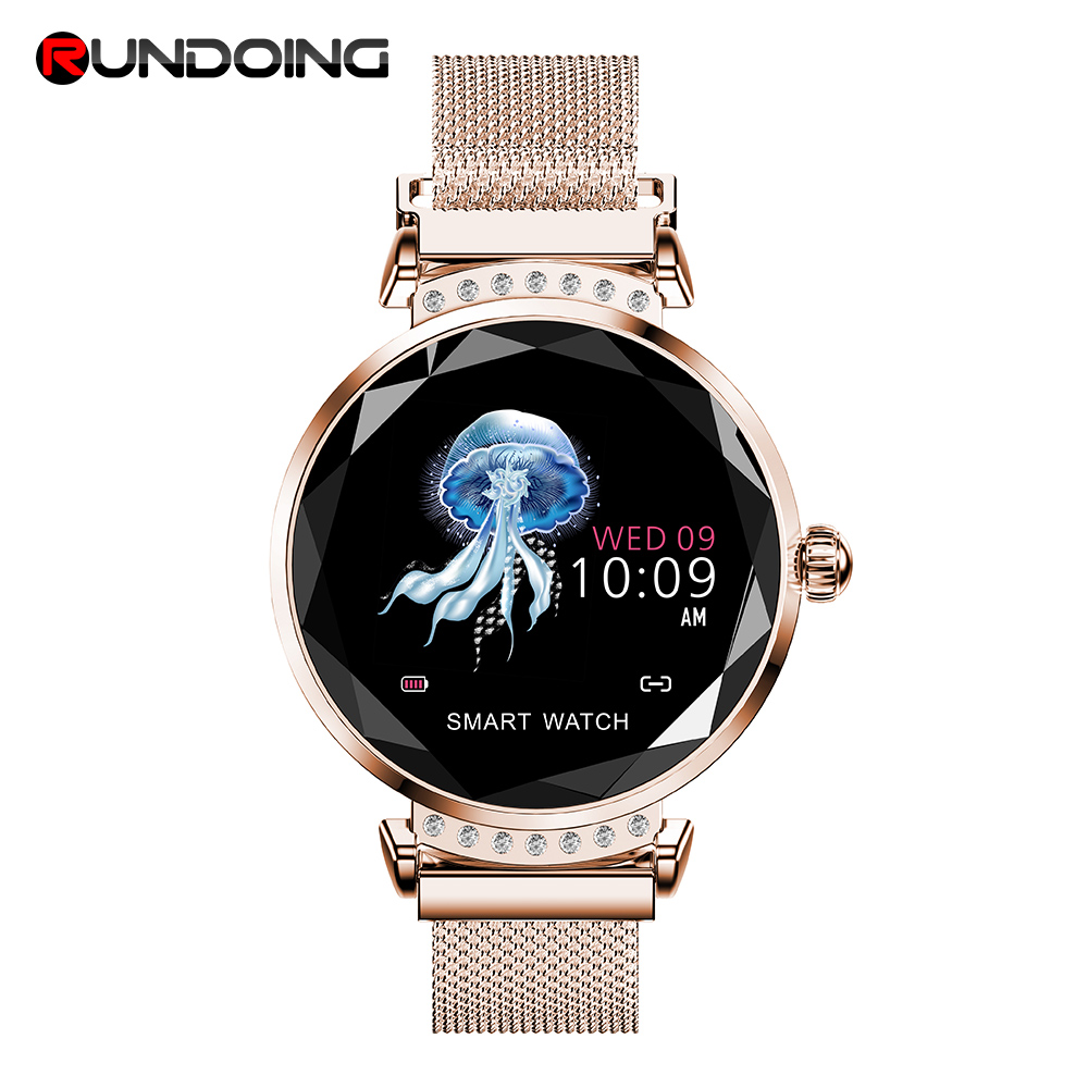 Rundoing H2 Smart watch Waterproof Women ladies fashion Smartwatch Heart rate monitor Fitness Tracker For android