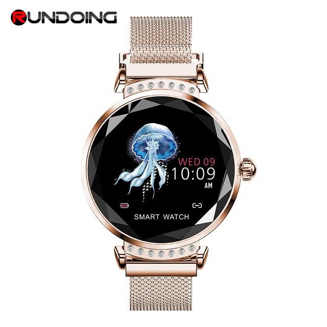 Reloj inteligente runding H2 resistente al agua mujeres señoras moda reloj inteligente monitor de ritmo cardíaco rastreador de Fitness para android e IOS
