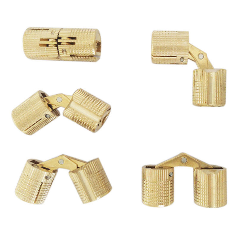 Wholeale 4PCS 8mm/10mm/12mm Copper Barrel Hinges Hidden Cabinet Concealed Invisible Brass Hinges Mount Door Furniture Hardware