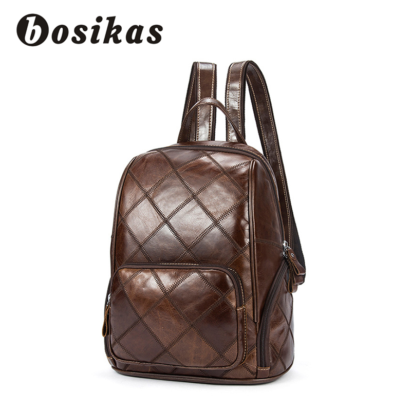 BOSIKAS Women Backpack Genuine Leather Backpack Vintage laptop Travel backpack School Bag Plaid Women's backpack Square Pattern plaid pattern universal 360 degree rotational zipper bag for 9 10 11 laptop white