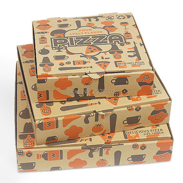 Craft Paper Pizza Box Food Grade Materials 7 9 10 Logo Custom