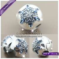 2016 Winter NEW Woman Jewelry S925 Silver Crystalized Snowflake Multi-Colored Crystal CZ Clip Charm Fit European Bracelets CL067