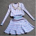 2016 New Knit Long-sleeve Sweater Skirt Suits Women Sweet Beads Collar Knit Crochet grid Crop Top A-line Skirt  2pcs Set 800249