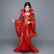 Chinese Traditional Dress Dance-Costume Chang'e Fairy Folk Stage-Show Kids Child Red