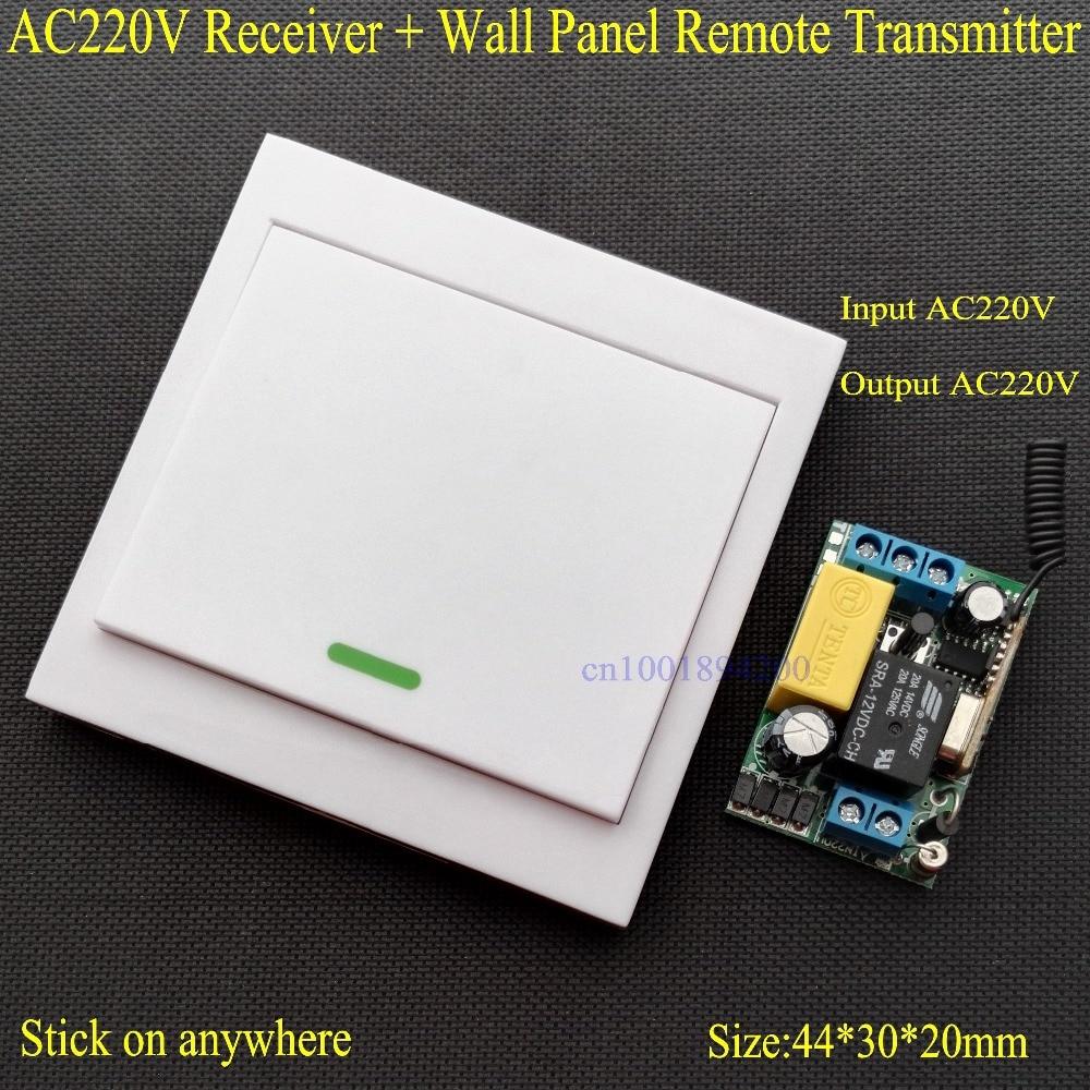 Painel de Parede Interruptor de Controle Remoto sem fio AC 220 V Receptor Transmissor Remoto Hall Quarto Lâmpadas de Teto Luzes de Parede Sem Fio TX