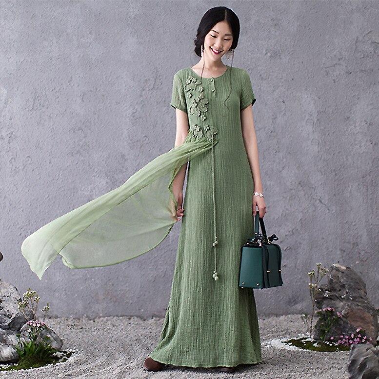 Nouveau 2016 été femmes coton lin lâche longue robe élégante chine Style maxi robe broderie en mousseline de soie patchwork longos vestidos