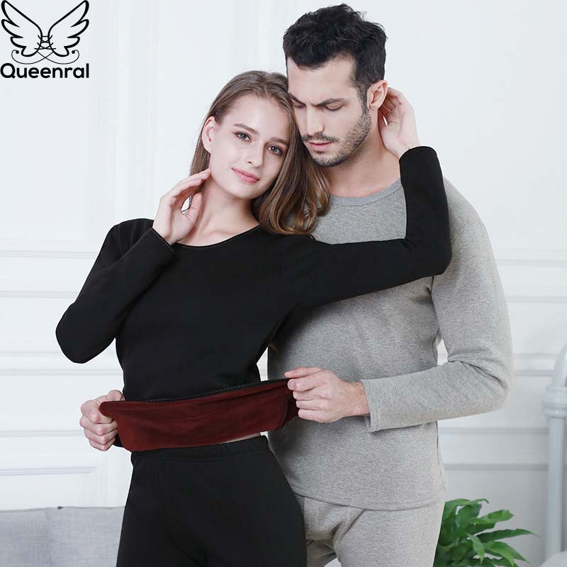 Queenral Winter Lover Thermal Underwear For Women/Men Winter Clothing Pajamas Thermos Long Johns Velvet Thick Second Female Skin