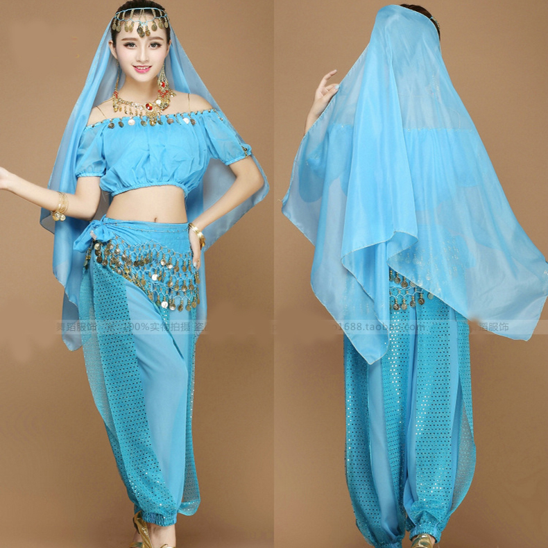 7055750dd5f3 Aliexpress.com Buy New Sexy Women Adult Arabic Indian Egyptian Cheap Belly  Dance Costumes Set 4 Pieces Crop Top Harem Pants Hip Scarf Veil from  Reliable ...