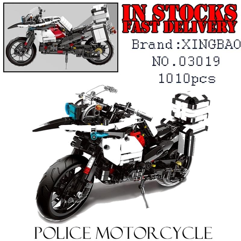 XingBao Creator Technic 03019 1010pcs Police motorcycle Building Block Brick enlighten toy for children Birthday gift brinquedos фруктовая корзина lighting spaces 03019