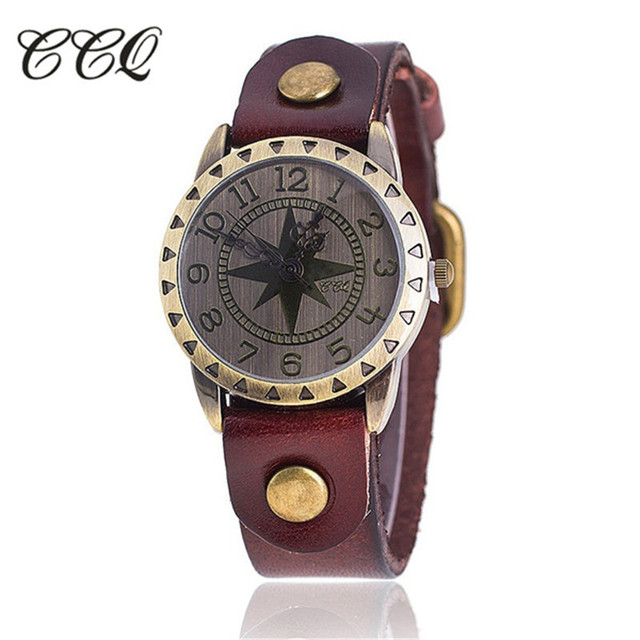 be6815d8cb5 CCQ Marca Pulseira de Couro de Vaca Estrela Do Vintage Relógio de Luxo  Casual relógio de